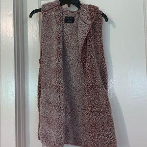 Love Tree burgundy Sherpa hooded vest